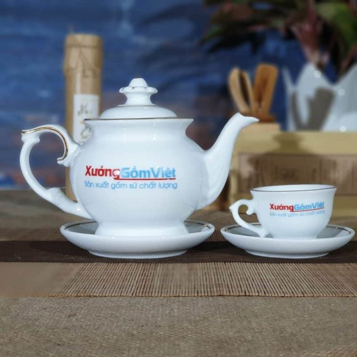 Bộ bình trà trắng đẹp in logo giá rẻ ATK-21