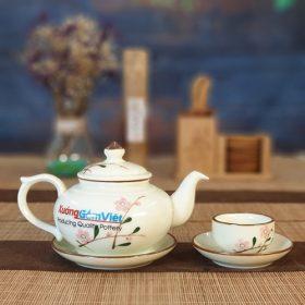 Bộ trà quai gờ vẽ đào hồng ATV-06