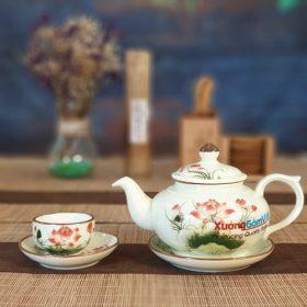 Bộ trà quai gờ vẽ sen và lá ATV-07