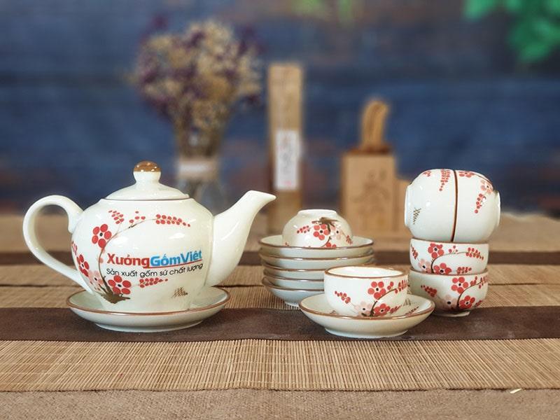 Bộ trà thấp vẽ hoa đào đỏ ATV-12