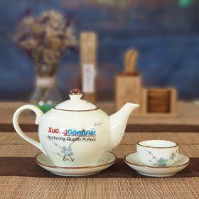 Bộ trà sứ thấp vẽ đào xanh ATV-13