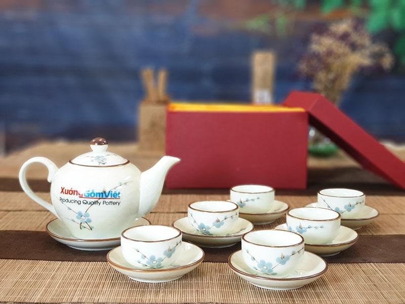 Bộ trà sứ thấp vẽ đào xanh