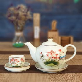 Bộ trà quà tặng vẽ sen và lá ATV-11