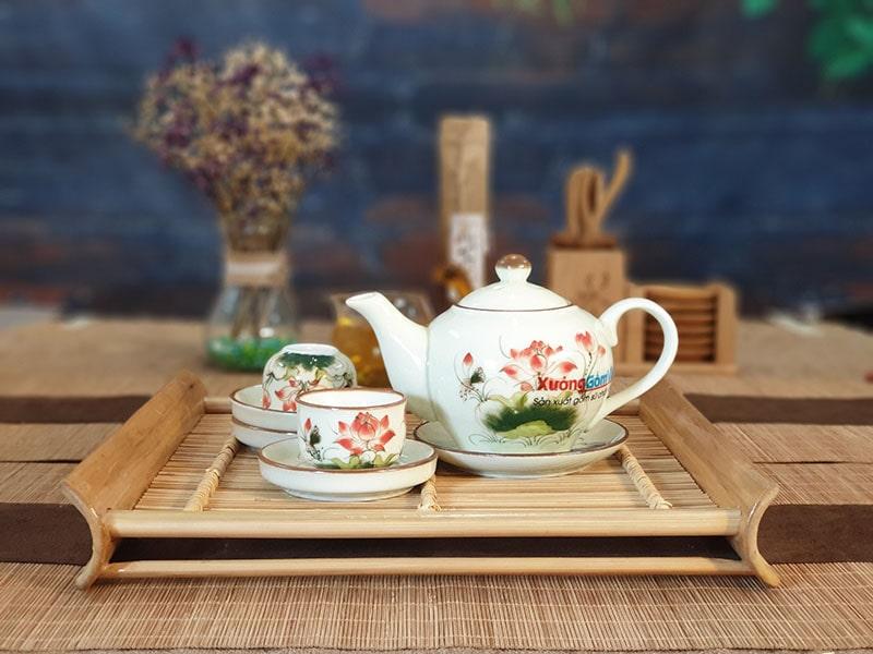 Bộ trà sứ thấp vẽ sen và lá ATV-11