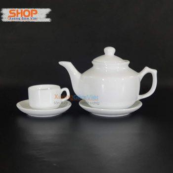 Bộ ấm trà sứ trắng Bát Tràng rẻ đẹp AT-05