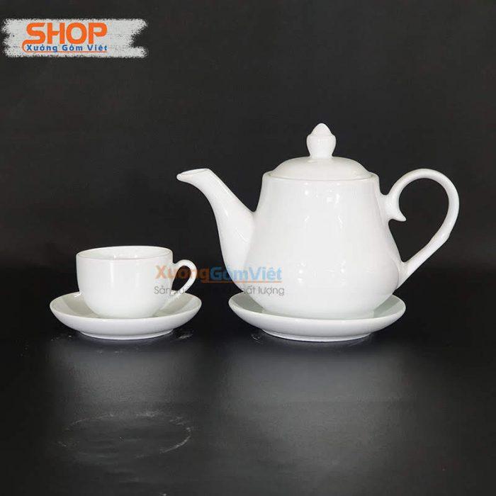 Bình trà cao cấp sứ trắng Bát Tràng AT-55