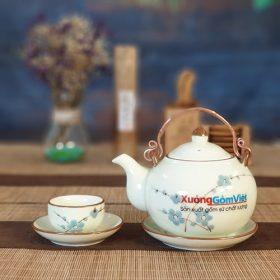 Bộ trà tròn quai đồng vẽ đào ATV-05