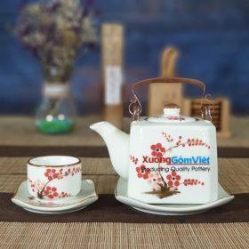Bộ trà vuông vẽ hoa đào đỏ ATV-02