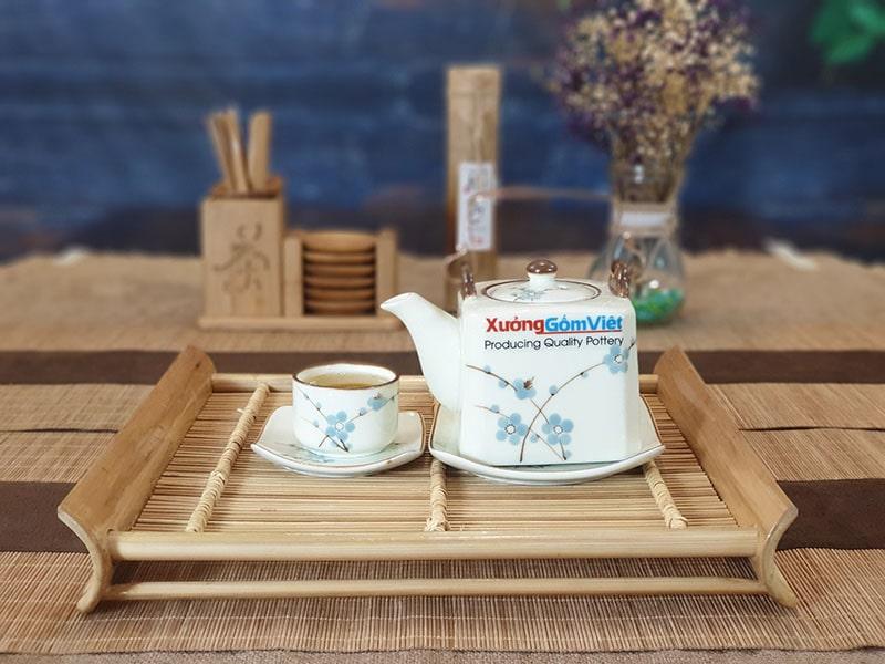 Bộ trà vuông vẽ đào xanh ATV-03