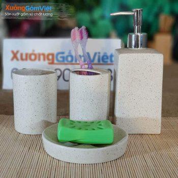 Bộ đồ dùng nhà tắm sứ 5 món rẻ PKNT-80
