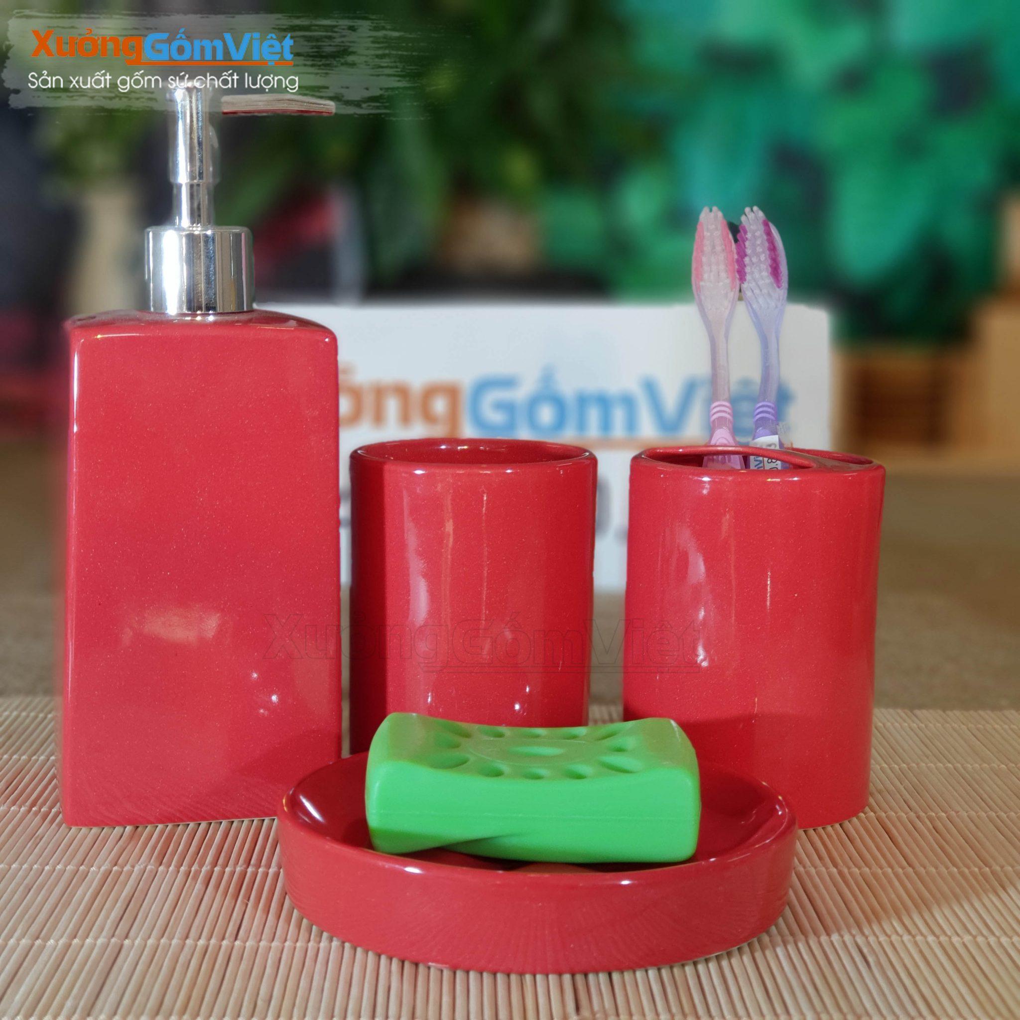 Combo dụng cụ nhà tắm sứ 4 món PKNT-84