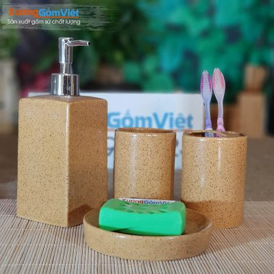 Bộ 4 món phụ kiện phòng tắm sứ PKNT-83