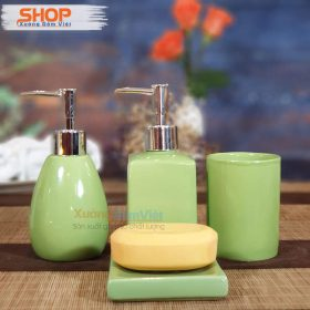 Bộ dụng cụ nhà tắm 4 món bằng sứ PKNT-76