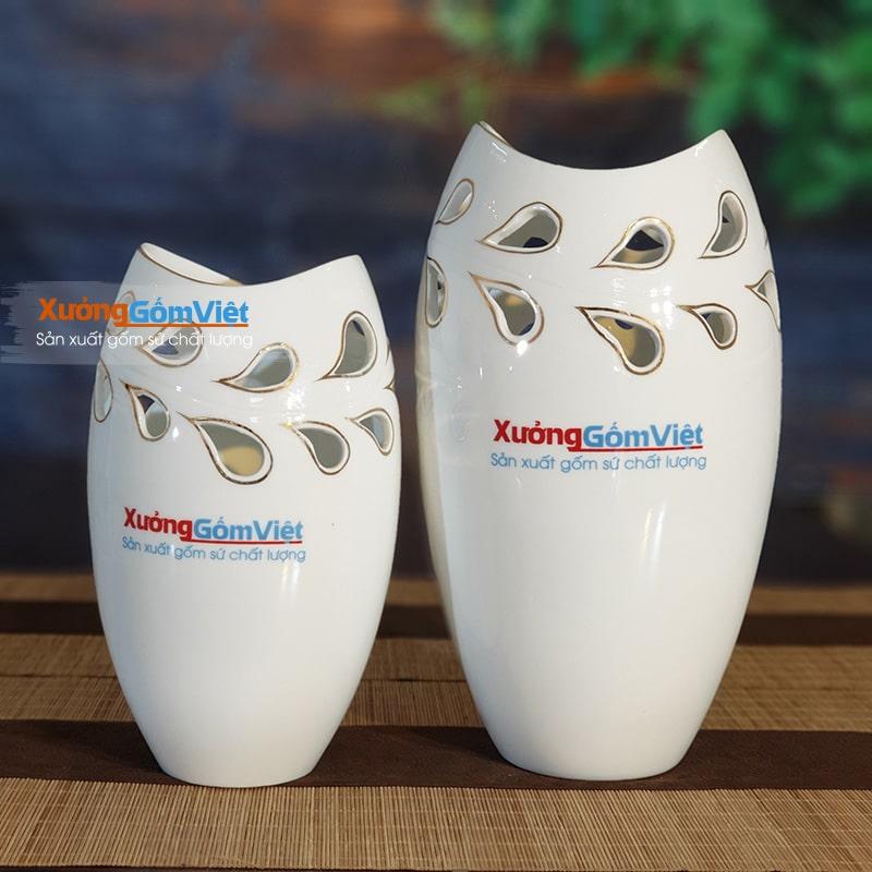 Lọ hoa trắng in logo quà tặng