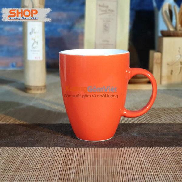 Ly sứ Bát Tràng đẹp màu cam CSM-M25.3