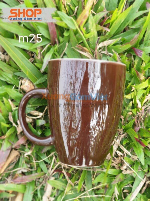 Ly sứ Bát Tràng đẹp màu nâu CSM-M25.2
