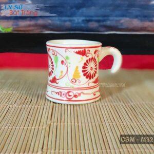 Cốc Espresso sứ giả cổ vẽ cúc CSM-M32