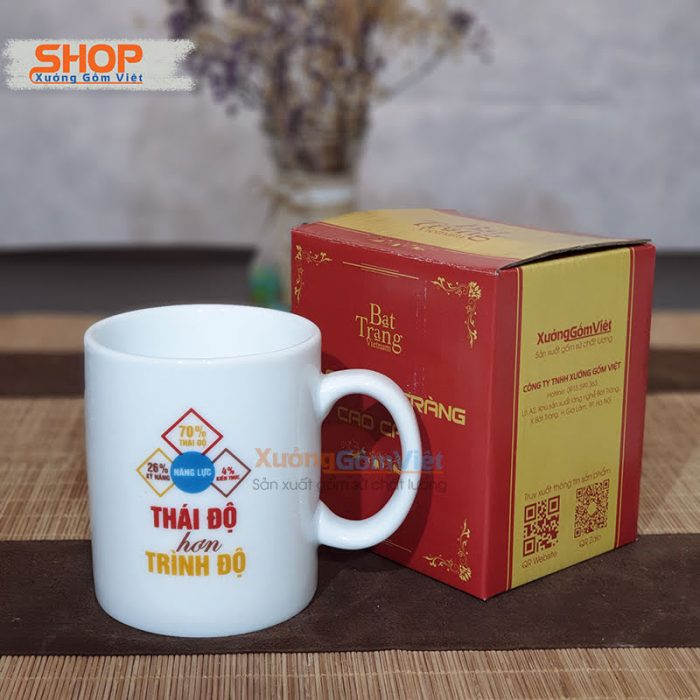 Ly cốc sứ in chữ độc đáo giá rẻ CST-M70.6