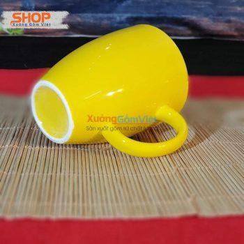 Ly sứ Bát Tràng đẹp màu vàng CSM-M25.5