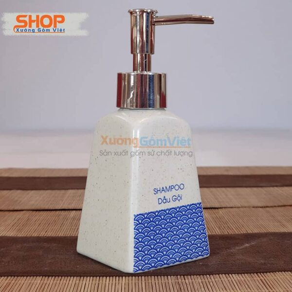 Bình sứ đựng dầu gội in chữ đẹp PKNT-100