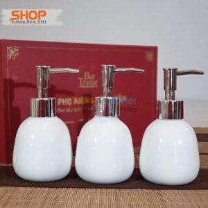 Bình sứ trắng đựng dầu gội cao cấp PKNT-88