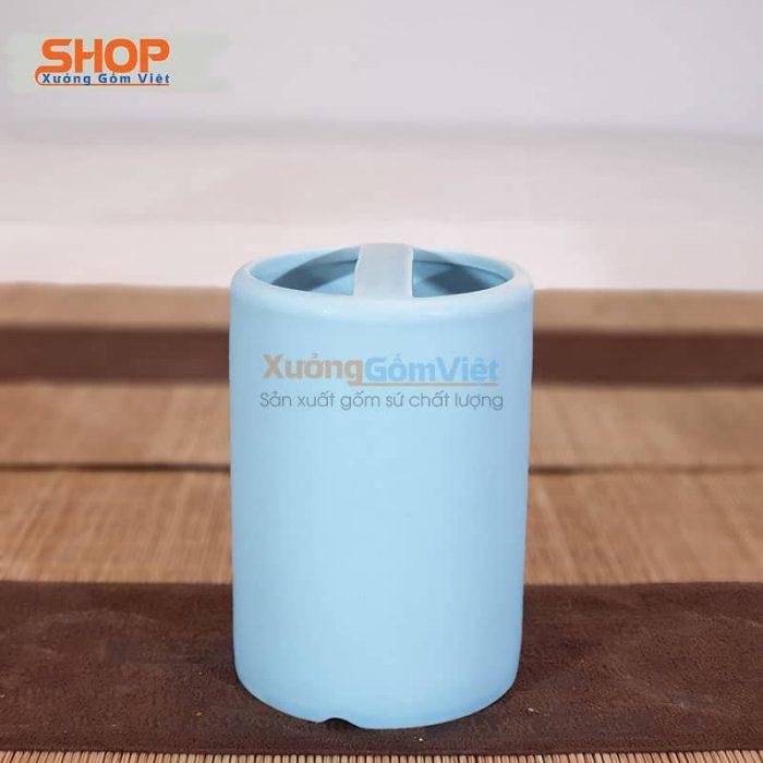 Cốc sứ 2 ngăn đựng bàn chải đẹp PKNT-92