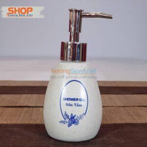 Bình sứ đựng sữa tắm in chữ đẹp PKNT-97