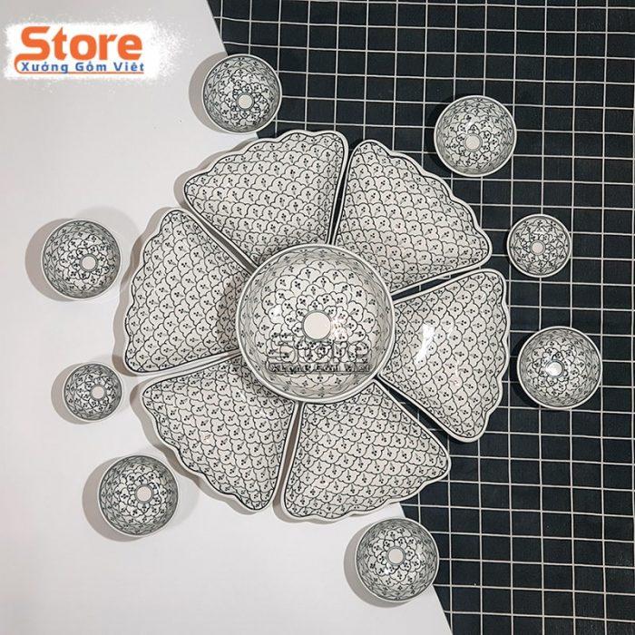 Bộ bát đĩa bàn ăn cao cấp hoa mặt trời