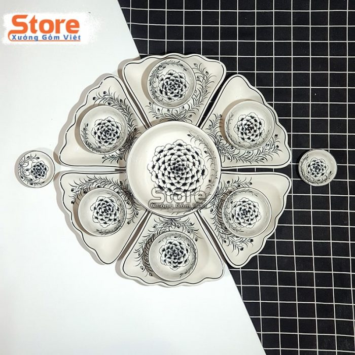 Set bát đĩa sứ cao cấp hoa mặt trời đẹp
