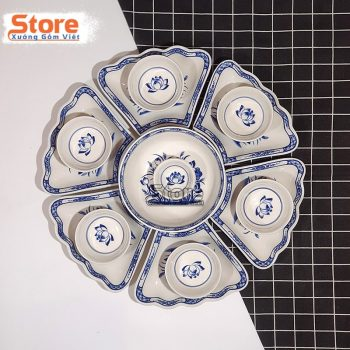 Set bát đĩa 15 món sứ Bát Tràng tuyệt đẹp
