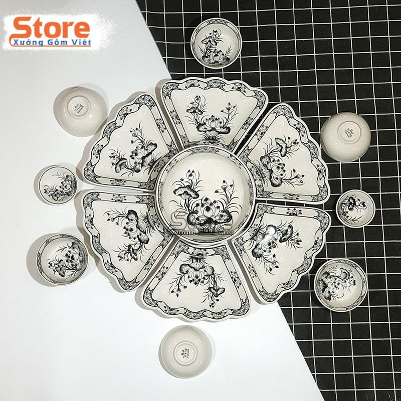 Bộ bát đĩa 15 món sứ Bát Tràng cao cấp