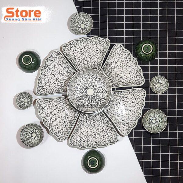 Bộ bát đĩa sứ hoa mặt trời cao cấp đẹp